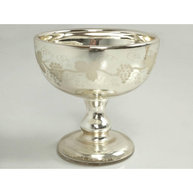Vintage Mercury Glass Compote with Etched Grapes For Sale - Image 10 of 10