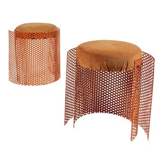 1980s Contemporary Orange Metal Stools - a Pair For Sale