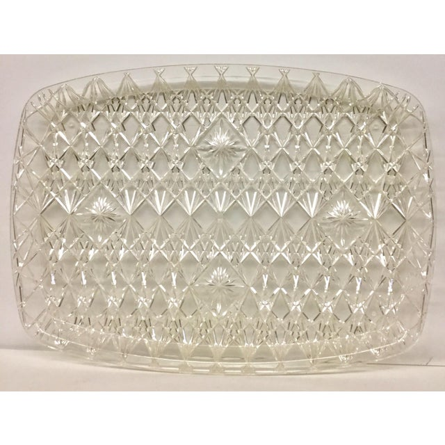 Large Vintage Clear Carved Lucite Serving Tray For Sale - Image 13 of 13
