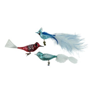 Vintage Blown Glass Bird Ornaments - Set of 3 For Sale