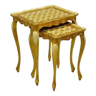 Vintage Italian Florentine Gold Gilt Wood Nesting Side Tables Stacking Toleware Tole