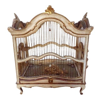 Antique Italian Carved Wood Birdcage For Sale