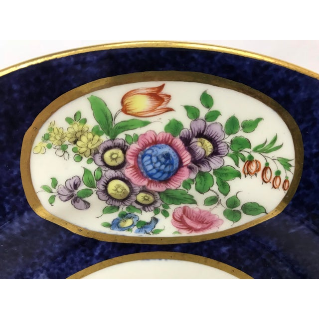 Early 20th Century Vintage Crown Staffordshire Cobalt & White With Flowers Luncheon Plate Set - 12 Pc. For Sale - Image 5 of 7