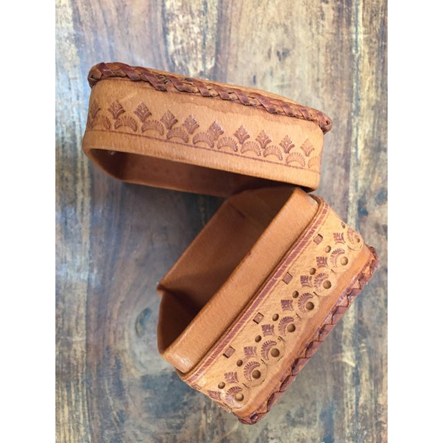 African Leather Vintage Brown Box Hand Tooled in Morocco With Tribal African Designs For Sale - Image 3 of 13