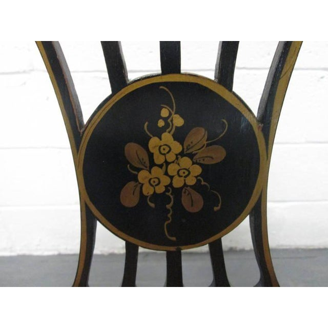 Black Pair of Sheraton Style Stenciled Armchairs For Sale - Image 8 of 11
