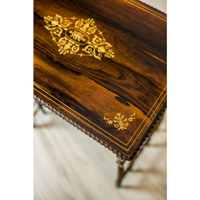 Wood French Intarsiated Table from the 19th Century For Sale - Image 7 of 13