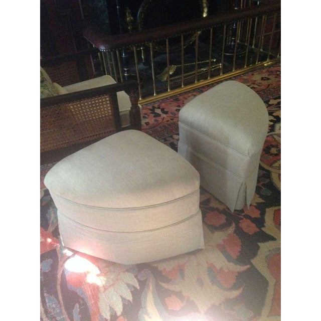 Modern Upholstered Crescent Shape Ottomans on Casters - A Pair For Sale - Image 3 of 7