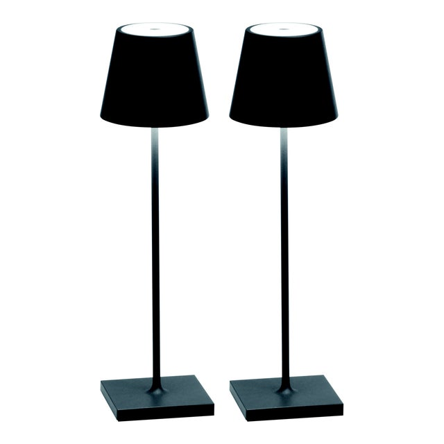 Modern Zafferano Dark Grey Rechargeable Indoor/Outdoor Cordless Table Lamp - Pair For Sale - Image 3 of 3