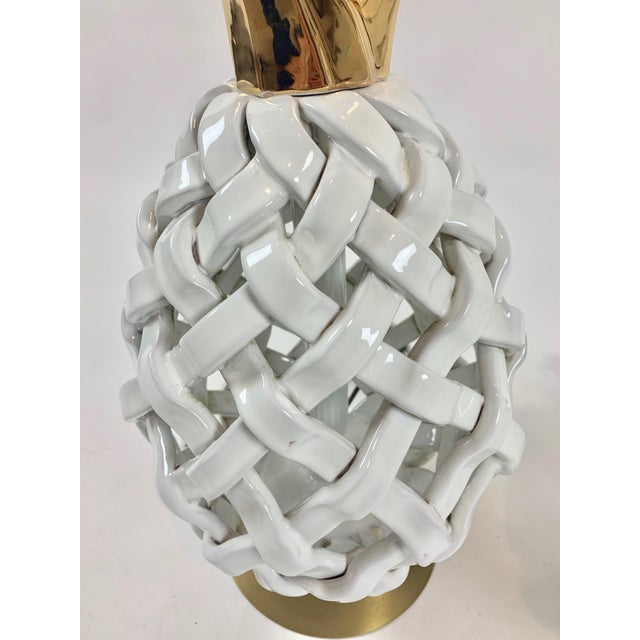 Mid 20th Century Mid 20th Century Pineapple Motif Ceramic Lamps - a Pair For Sale - Image 5 of 8