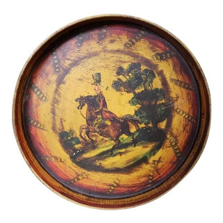 C. 1860 French Infantry Soldier Motif Hand Painted Toleware Tray Made in France For Sale