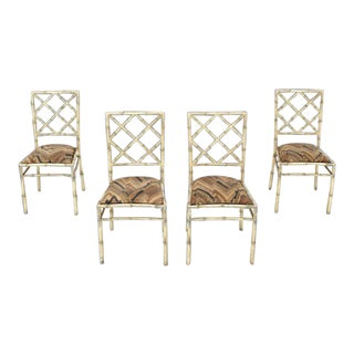 Vintage Mid Century Solid Cast Aluminum Faux Bamboo Dining Chairs- Set of 4 For Sale