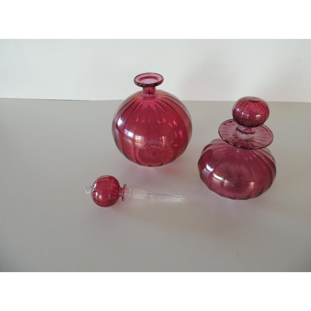 Boho Chic Pair of Egyptian Hand-Blown Cranberry Perfume Bottles For Sale - Image 3 of 5
