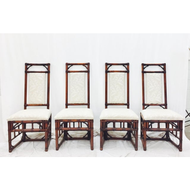 Vintage Bamboo & Rattan Dining Chairs - Set of 4 - Image 2 of 11
