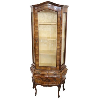 20th Century Venetian Italian Louis XV Style Vitrine in Carved and Burl Walnut For Sale