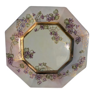 Antique Capodici Hand-Painted Gold Trim Spider Web Porcelain Plate; Early 1900s For Sale