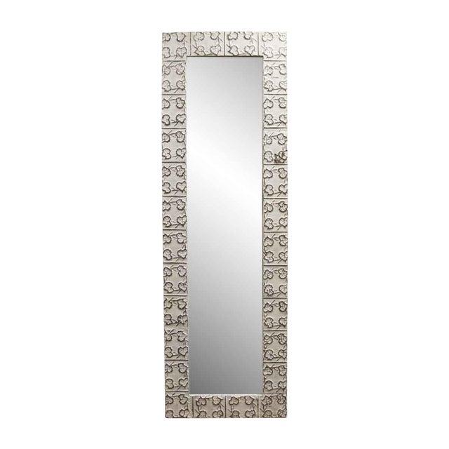 White Tin Maple Leaf Ceiling Tin Mirror For Sale