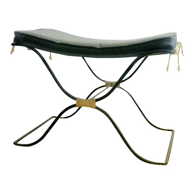Jean Royere Style Iron and Rope Stool 1950's For Sale