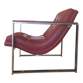 Mod Italian Red Leather & Steel Club Chair