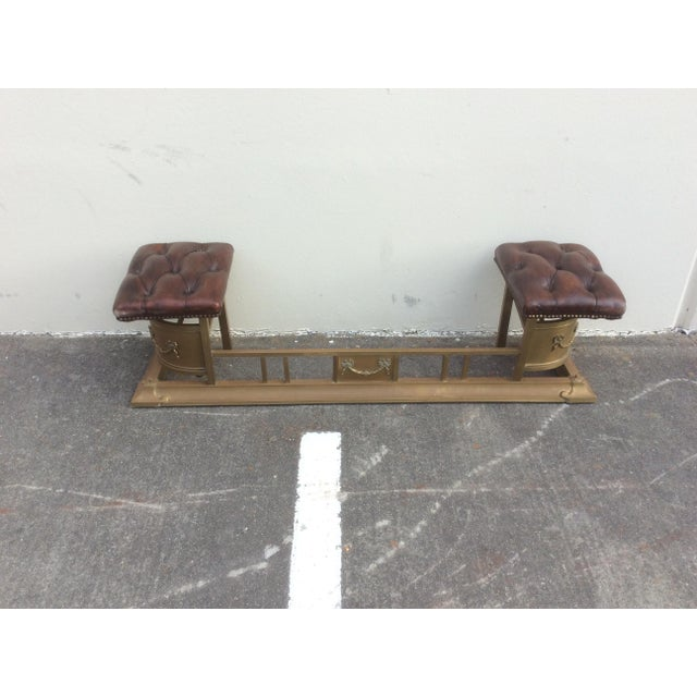 Animal Skin Tufted Leather and Brass Edwardian Fireplace Fender For Sale - Image 7 of 8