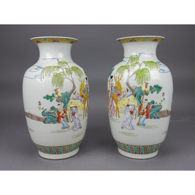 Ceramic Gorgeous Pair of Chinese Famille Rose Mirror Imaged Immortal Vases For Sale - Image 7 of 13