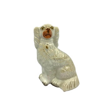 Antique Staffordshire Spaniel Dog Figurine With Lock and Chain Detail For Sale