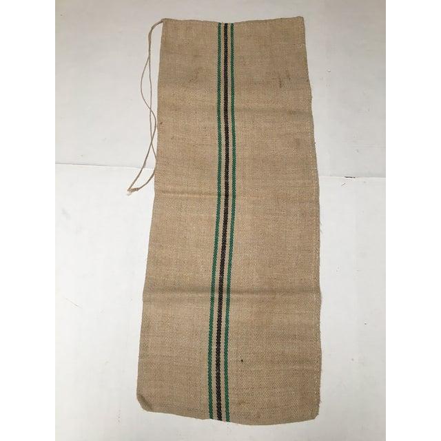 Vintage Green Stripe European Grain Sack - Image 4 of 7