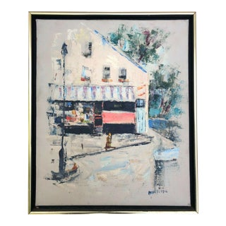 Mid-Century Modern Painting of European Street For Sale