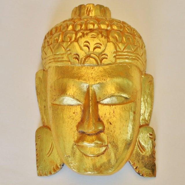 Vintage Giltwood Buddha Mask - Image 2 of 3