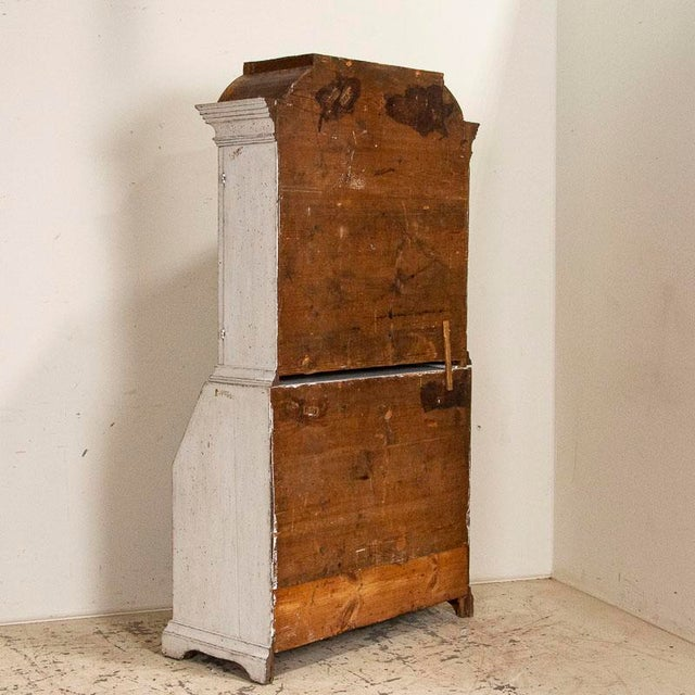 Early 19th Century Antique White Painted Gustavian Secretary Desk Bureau, Sweden For Sale - Image 5 of 11