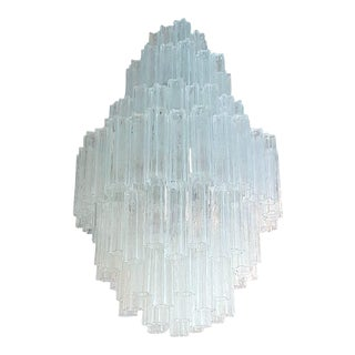 Extra Large Mid-Century Modern Venini Clear Glass Tronchi Chandelier by T. Zuccheri For Sale