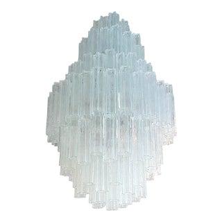 XL Mid century modern Venini clear glass Tronchi Chandelier, by T. Zuccheri