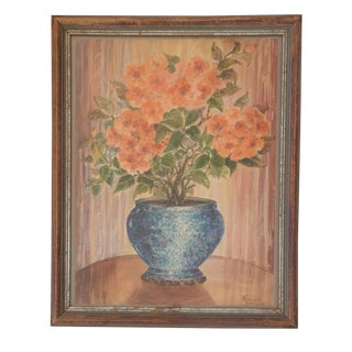 Original Vintage Watercolor Painting of a Rose For Sale