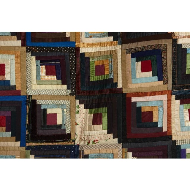 Antique Log Cabin Barn Raising Pieced Silk Quilt For Sale In New York - Image 6 of 8