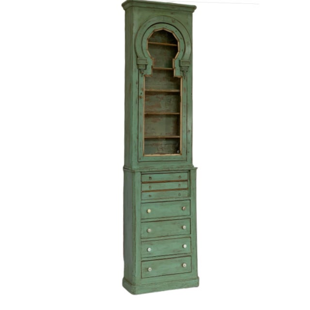 19th Century Spanish Green Pharmacy Cabinet For Sale - Image 12 of 12