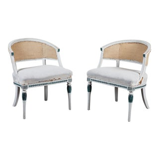 Pair of Early 19th C. Swedish Gustavian Barrel Back Armchairs