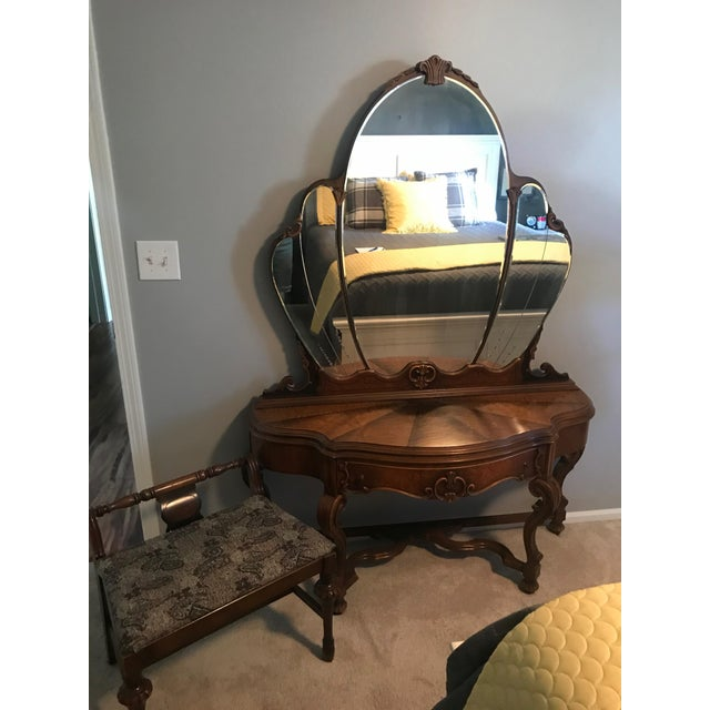 Antique Joerns Brothers Furniture French Country Vanity & Stool For Sale In Chicago - Image 6 of 6