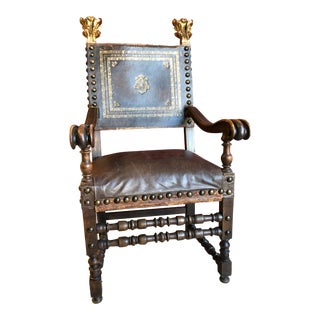 Baroque Armchair With Tooled and Gilt Leather and Wood For Sale