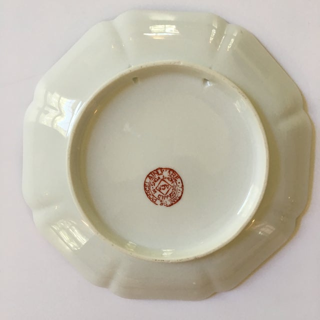 Metal Mid-Century Porcelain Bok Choy Leaf & Butterfly Decorative Scalloped Plate For Sale - Image 7 of 11