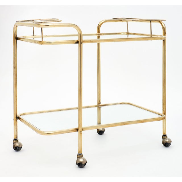Mid-Century Brass and Glass Bar Cart For Sale In Austin - Image 6 of 10