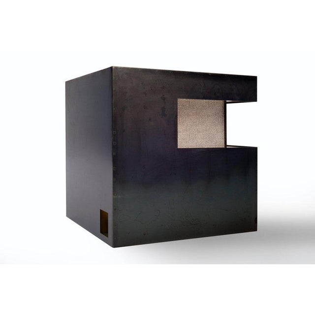 Very sculptural steel cube by interior designer Harry Clark. A very eye-catching piece of furniture in high end quality...