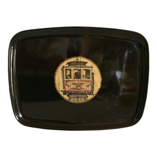 Vintage Mid-Century Modern Couroc of Monterey San Francisco's Street Car Tray For Sale
