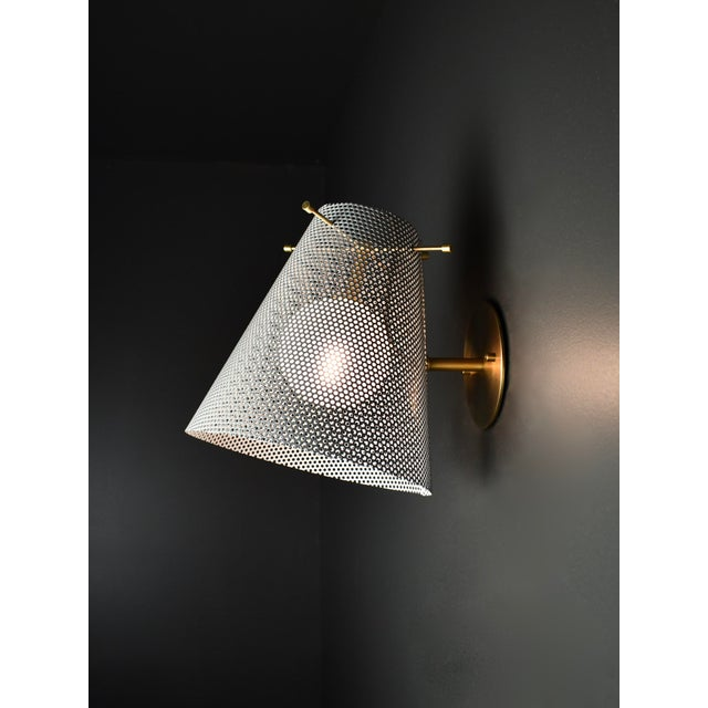 Blueprint Lighting Voile Wall Sconce in Brass and Gray Enamel Mesh by Blueprint Lighting For Sale - Image 4 of 4