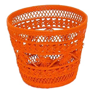 Mid-Century Modern Orange Wicker Trash Can