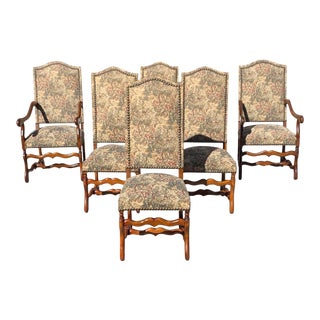 1900s Vintage French Louis XIII Style Solid Walnut Os De Mouton Dining Chairs - Set of 6 For Sale