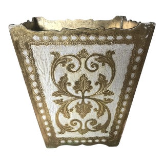 Horchow Vintage Florentine Powder Room Wastebasket For Sale