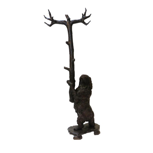 Late 19th Century Swiss Black Forest Wood Carved Coat & Hat Rack For Sale
