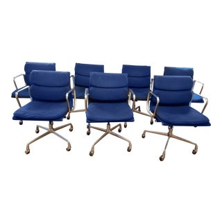 Herman Miller Eames Aluminum Group Soft Pad Management Chairs - Set of 7 For Sale