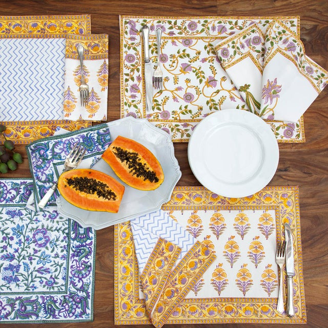 Juhi Flower Placemats Yellow - A Pair For Sale - Image 4 of 5