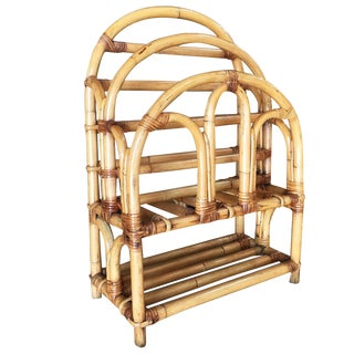 Restored Rattan Art Deco Magazine Rack With Stacked Base, Circa 1950 For Sale