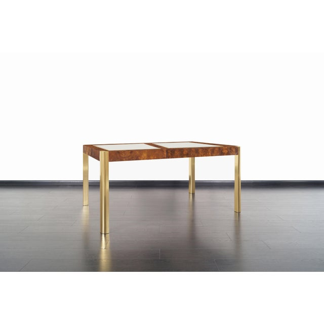 Century Furniture Vintage Burl Wood and Brass Dining Table by Century Furniture For Sale - Image 4 of 13